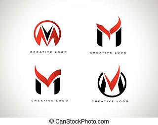 Letter M Logo Set - Letter m Logo with red and black colors....
