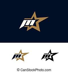 Letter M logo template with Star design element. Vector illustration. Corporate branding identity
