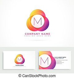 letter m logo with business card template