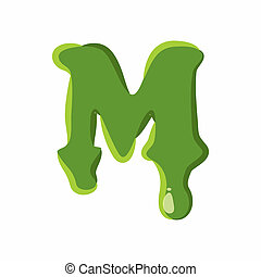 Letter M made of green slime