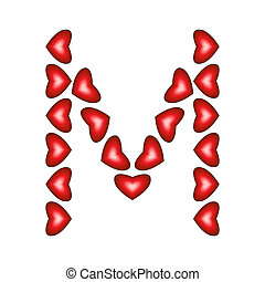 Letter M made of hearts