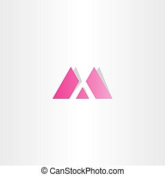 M pink magenta dotted bubble letter logo design vector M