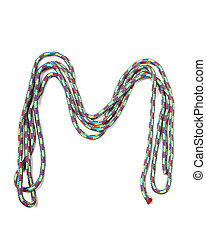 Letter m of cotton rope