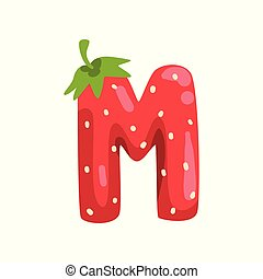 Letter M of English alphabet made from ripe fresh srawberry, bright red berry font vector Illustration on a white background