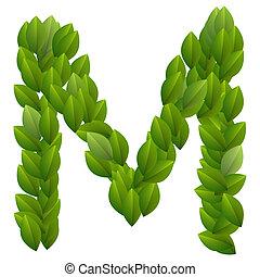Letter M of green leaves alphabet