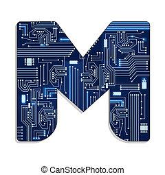 """Letter """"m"""" of technology alphabet"""