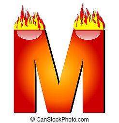 Letter M on Fire