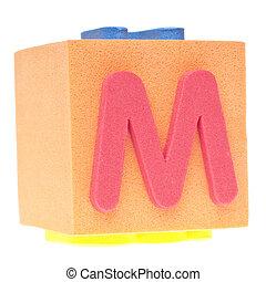 Letter M on Foam Block