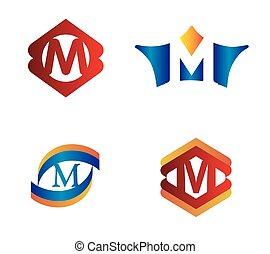 Letter M set Alphabetical Logo