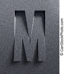 Letter M slanted 3d font engraved and extruded from the ...