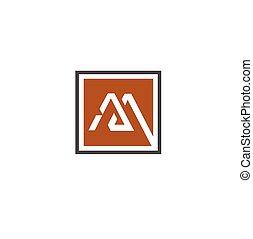 letter M square logo design