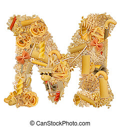 Letter M made from pasta isolated on white