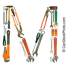 Letter M - Letter 'M' made of tools isolated on white