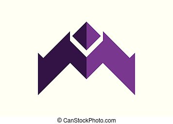 letter m up arrow logo icon vector