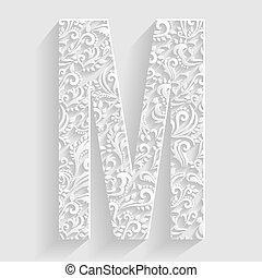 letter m vector floral invitation cards decorative font