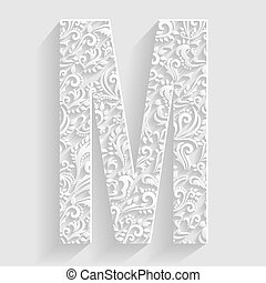 Letter M. Vector Floral Invitation cards Decorative Font