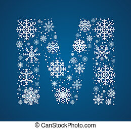 Letter M, vector font frosty snowflakes