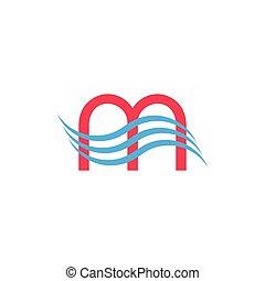 letter m waves logo vector