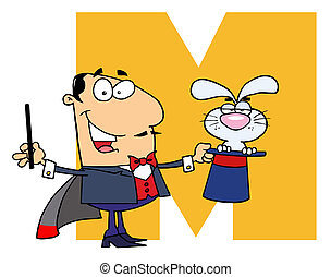Letter M With A Magician - Funny Cartoons Alphabet-M