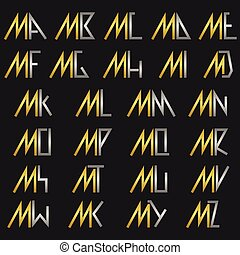Letter M with alphabet - M and other alphabet letters...