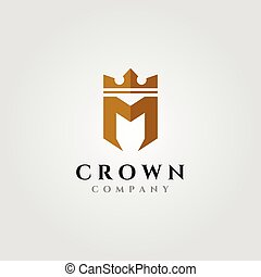 letter m with crown logo initial vector symbol illustration design