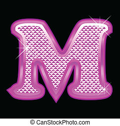 Letter M with pink bling pattern