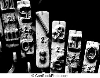 Letter macros & called ampersand inside an old mechanical typewriter Italian