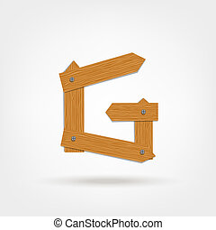 Letter made from wooden boards for your design