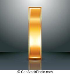 Letter metal gold ribbon - I