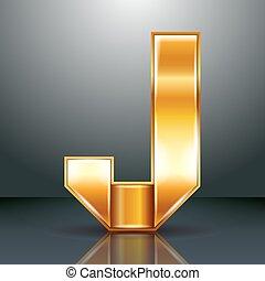 Letter metal gold ribbon - J