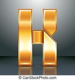 Letter metal gold ribbon - K