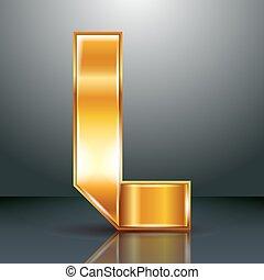 Letter metal gold ribbon - L