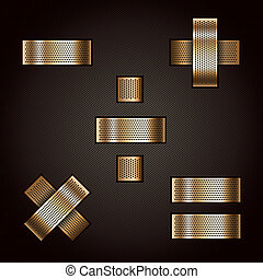 Letter metal gold ribbon - Mathematical signs