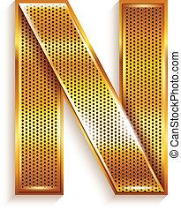 Letter metal gold ribbon - N