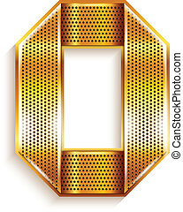 Letter metal gold ribbon - O