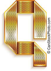 Letter metal gold ribbon - Q