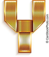 Letter metal gold ribbon - Y