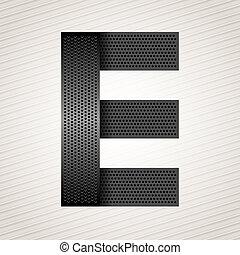 Letter metal ribbon - E - Font from folded metallic ribbon...