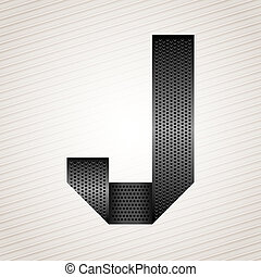 Letter metal ribbon - J - Font from folded metallic ribbon -...