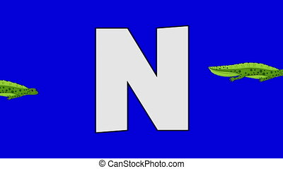 Letter N and Newt (background) - Animated animal alphabet....