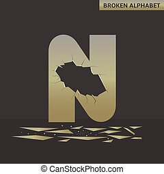 Letter N. Broken mirror