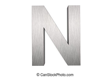 Brushed metal letter N