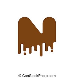 Letter N Chocolate font. sweetness alphabet. Liquid lettering. Sweet viscous ABC sign