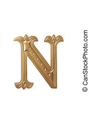 letter n - clipping path of the golden alphabet n