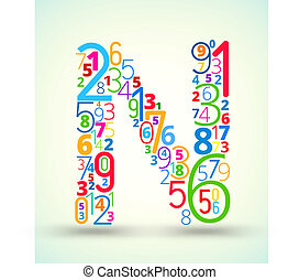 Letter N, colored vector font from numbers