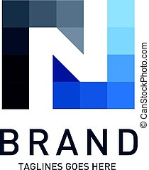 Letter N colorful square vector logo