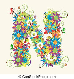 Letter N, floral design. See also letters in my gallery