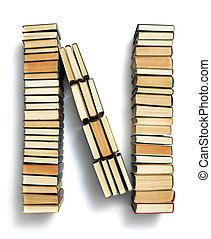 Letter N formed from the page ends of books - Letter N...