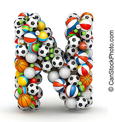 Letter N, gaming balls alphabet - Letter N, stacked from...