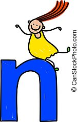 letter N girl - little girl climbing over giant letter N -...